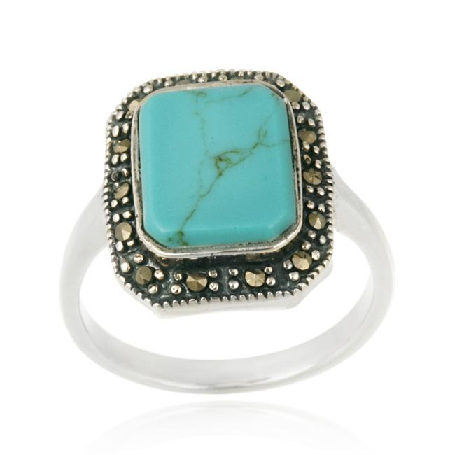 Glitzy Rocks Sterling Silver Turquoise and Marcasite Ring