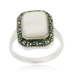 Glitzy Rocks Sterling Silver Mother of Pearl and Marcasite Ring