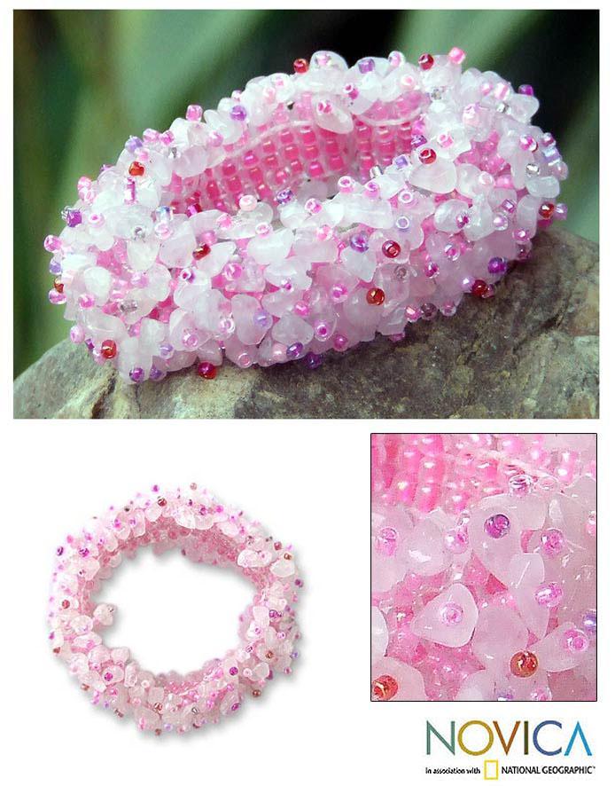 'Perfect in Pink' Rose Quartz Stretch Bracelet (Thailand)