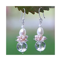 Pink White Pearl Quartz 'Ballerina' Earrings (4-6 mm) (Thailand)