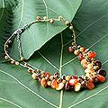 'Hot Tropics' Freshwater Pearl Carnelian Necklace (4-12 mm) (Thailand)