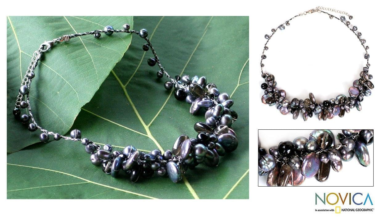 'Night Song' Pearl Smoky Quartz Necklace (4-12 mm) (Thailand)