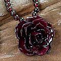 'Forever a Rose' Natural Rose and Garnet Flower Necklace (Thailand)