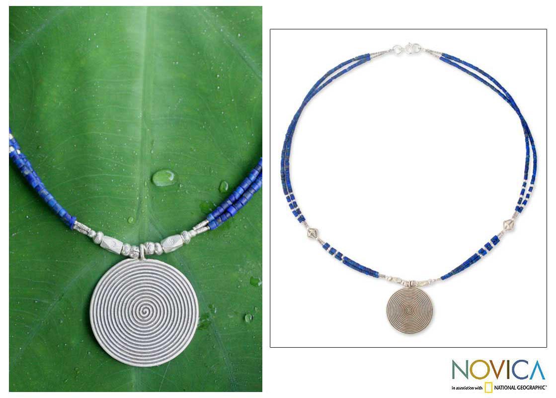 Sterling Silver 'Mind Journey' Lapis Lazuli Necklace (Thailand)