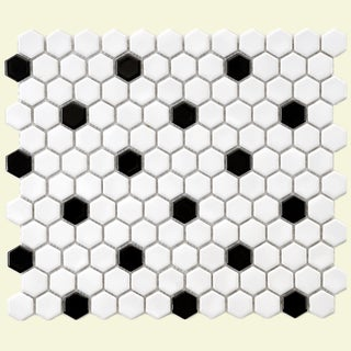 SomerTile 10.25x11.75-in Victorian Hex 1-in White/Black Dot Porcelain Mosaic Tile (Pack of 10)