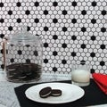 SomerTile 12x10.25-in Victorian Hex 1-in White/Black Dot Porcelain Mosaic Tile (Pack of 10)