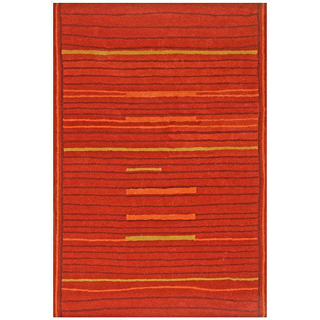 Hand-Tufted Lineage Orange Wool Rug (5' x 8')