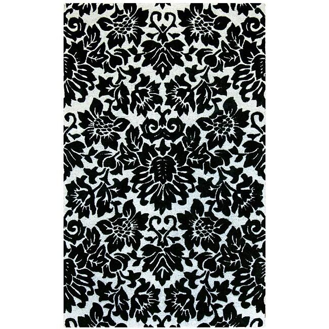 Hand-tufted Fenway Black Wool Rug (8' x 11')