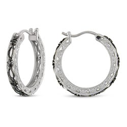 M by Miadora Sterling Silver 1/10ct TDW Black Diamond Earrings