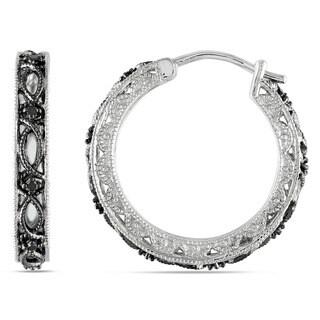 Haylee Jewels Sterling Silver 1/10ct TDW Black Diamond Earrings