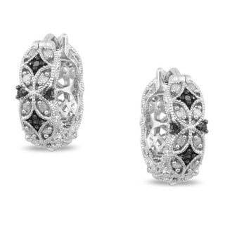 Miadora Sterling Silver 1/6ct TDW Black and White Diamond Earrings