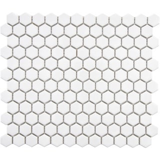 SomerTile 10.25x11.75-in Victorian Hex 1-in White Porcelain Mosaic Tile (Pack of 10)