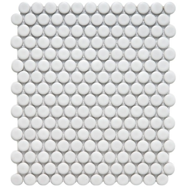 SomerTile 9.875x11.5-in Victorian Penny 3/4-in Matte White Porcelain Mosaic Tile (Pack of 10)