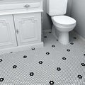 SomerTile 9.875x11.5-in Victorian Penny 3/4-in Matte White Black Flower Porcelain Mosaic Tile (Pack of 10)
