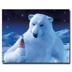 'Coke Polar Bear with Christmas Bottle' Canvas Art