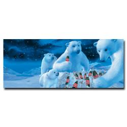 'Coke Polar Bear with Nest of Coke Bottles' Canvas Art