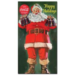 'Coke Santa Holding a Six-pack of Coca Cola' Canvas Wall Art