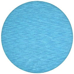 Hand-tufted Fusion Blue Wool Rug (8' Round)