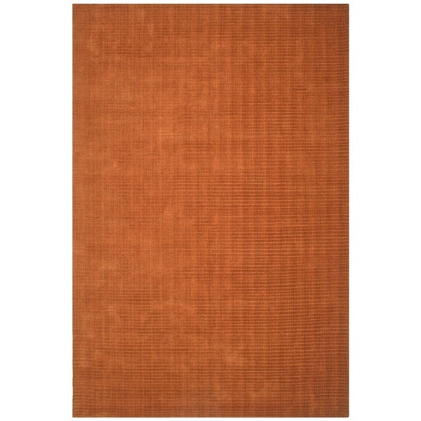 Hand-tufted Pulse Orange Wool Rug (8' x 10')