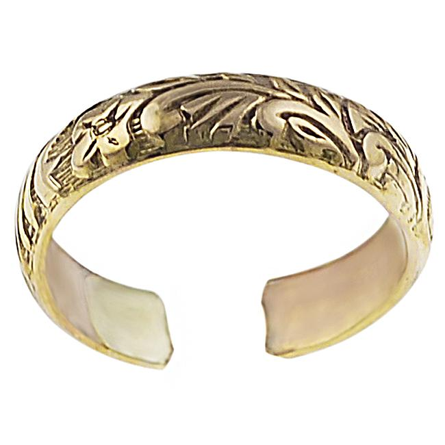 Goldfill Etched Flower Toe Ring