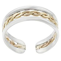 Journee Collection Sterling Silver Twisted Center Toe Ring