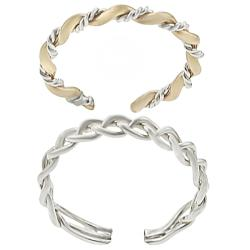 Tressa Sterling Silver Two-tone Two-piece Toe Ring Set