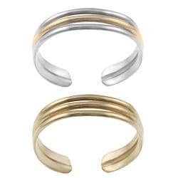 Tressa Goldfill Sterling Silver Two-piece Toe Ring Set