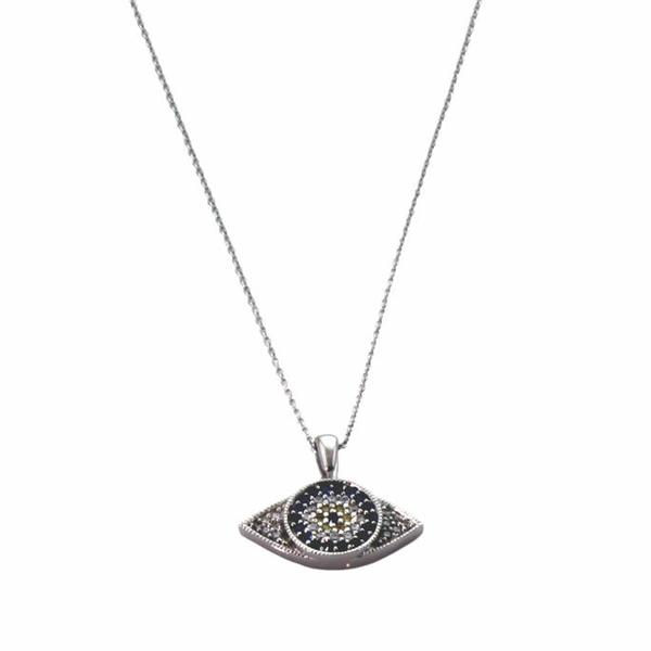 NEXTE Jewelry Silvertone Cubic Zirconia 'Ward Off the Evil Eye' Necklace