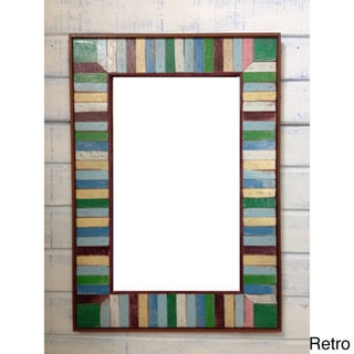 Boat Wood Dark Accent Multicolor Frame Mirror (Thailand)