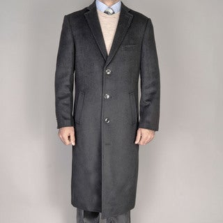 Mantoni Men's Black Wool Overcoat