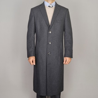 Mantoni Men's Charcoal Wool Overcoat