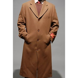 Mantoni Men's Chesnut Wool and Cashmere Overcoat