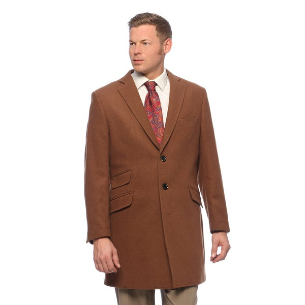 Men's Chesnut Wool and Cashmere Carcoat