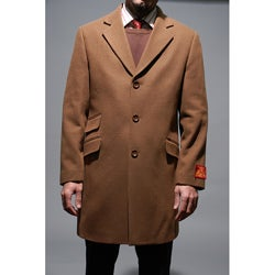 Mantoni Men's Chesnut Wool and Cashmere Carcoat