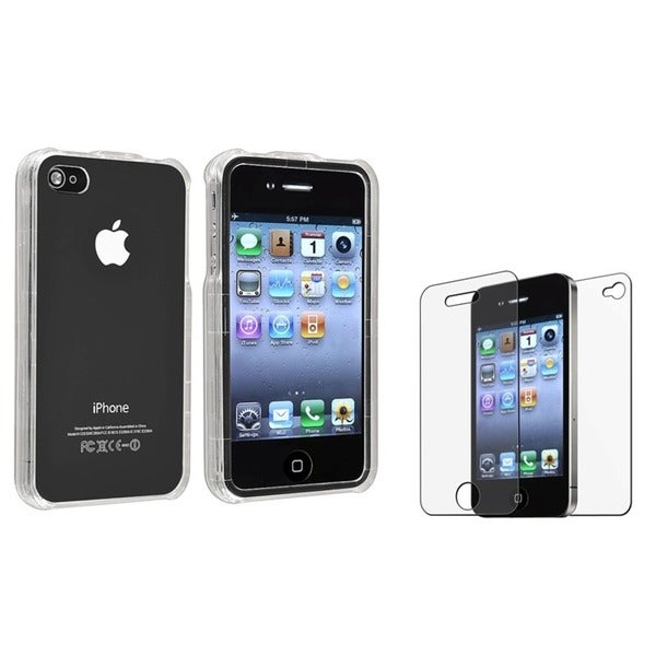 INSTEN Snap-on Phone Case Cover/ Anti-glare Screen Protector for Apple iPhone 4