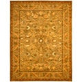 Handmade Antique Kasadan Olive Green Wool Rug (12' x 18')