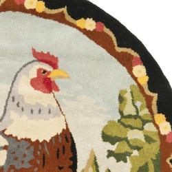 Handmade Novelty Chicken Multi Wool Rug (4' Round)