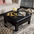Safavieh Supreme Square Black Leather Ottoman