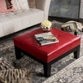 Safavieh Supreme Square Red Leather Ottoman
