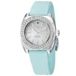 Zodiac Women's 'Racer' Stainless Steel and Blue Rubber Crystals Watch