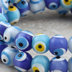 Hand Painted Evil Eye Beaded Bracelet (Guatemala)