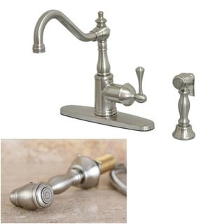 English Vintage Satin Nickel Single-handle Kitchen Faucet