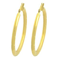 Fremada 14k Yellow Gold Diamond-cut Hoop Earrings (30 mm)