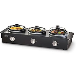 Nostalgia Electrics 2.5-qt Triple Slow Cooker Buffet