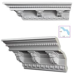 Baroque-style 7.5-inch Crown Molding w/ Acanthus Medillions (8 pack)