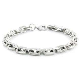 Men's Titanium Classic Rectangular Double Link Bracelet (7 mm)