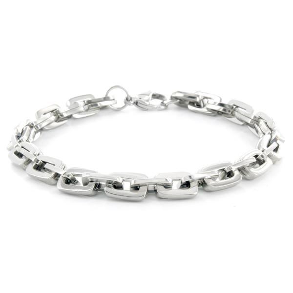 Men's Titanium Classic Rectangular Double Link Bracelet (7 mm)