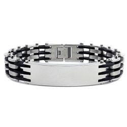 Stainless Steel and Rubber Link Men's ID Bracelet