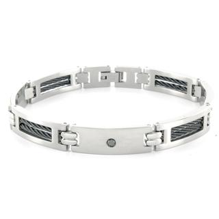 Men's 1/4-CT TDW Black Round-Cut Diamond Stainless-Steel Bracelet