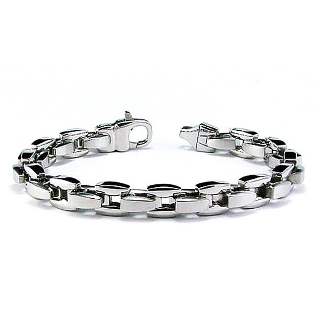High-Polish Stainless-Steel Men's Link Bracelet
